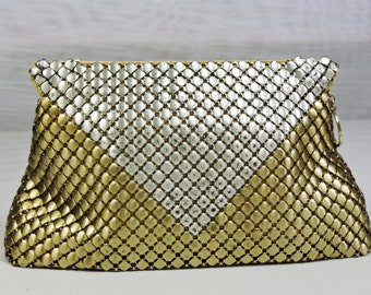 Whiting and Davis Mesh Purse, Gold and Silver, Clutch, Handbag