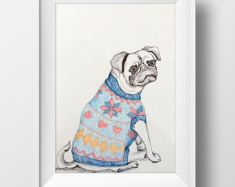 Pug in Sweater Illustration
