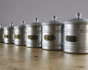 French Aluminium Cannister ....Set of Five....Good Vintage Condition....Nordic Home....Shabby Chic