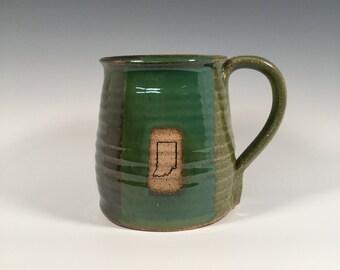 Pottery Mug -  Ceramic Coffee Cup - 16 oz - Ready to Ship - Ocean Green - Indiana stamp  - ceramics - pottery - stoneware
