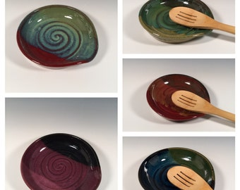Made to Order Pottery Spoon Rest - Ocean Greens - Kitchen- ceramics - pottery - stoneware- ceramics - pottery - stoneware