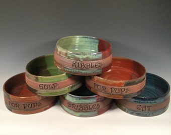 Personalized 2 Medium Dog dishes- Custom Set of 2 Choose your text and color- ceramics - pottery - stoneware - pets -feeding