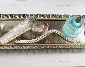 Vintage Vanity Mirror Rectangular Gold Filigree Grape Designs