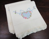 Vintage Pillowcase Set of 2 - White with Embroidered Hearts, Flowers Blue Pink Purple - Crocheted Edging
