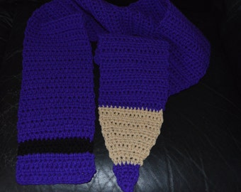 Crocheted Colored Pencil Scarf in Amethyst