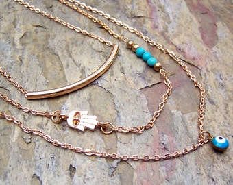 Gold Layered Necklace Hamsa Jewelry Evil Eye Turquoise Necklace