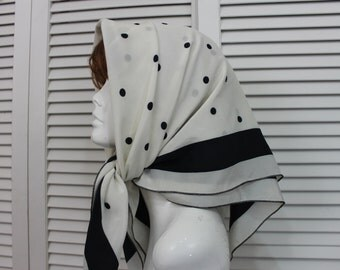 Vintage Large Scarf Black and White Polka Dot