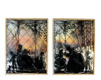 Reverse Painting Pair Silhouette On Convex Glass Victorian Woman and Children Scenic Background  and Brass Frame