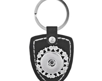 1 Black Leather Keychain - FITS 18MM Candy Snap Charm Jewelry Silver Limited Edition CJ0411