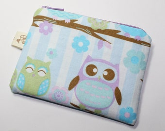 Coin purse, change purse, owl purse, owls on branches