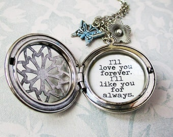 Locket for mother necklace  I'll love you forever I'll like you for always quote pendant necklace for Mom  best friend bff grandma sister