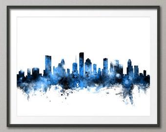 Houston Skyline, Houston Texas Cityscape Art Print (2153)