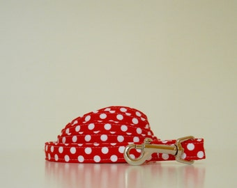 Red Polka Dot Dog Leash Wedding Accessories Made to Order