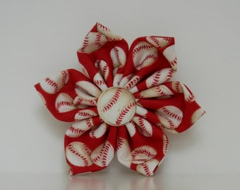 Red Baseballs St. Louis Cardinals Dog Collar Flower Made to Order