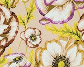 VINTAGE - 1/2 Yard Kaffe Fassett Collective Fabric - 100% Cotton Quilt Fabric - Phillip Jacobs - Banded Poppy - Taupe