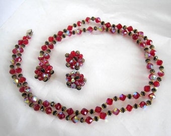 Red Black Crystal Necklace Earrings - Glass 2 strand Bib