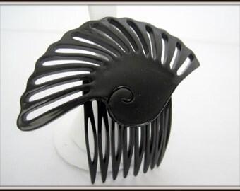 Art Deco Hair Comb Black Lucite Large Hair Ornament