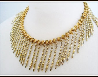 Etruscan Fringe Necklace - Gold Tone Spikes - Dangle Choker - Push In Clasp  Collar