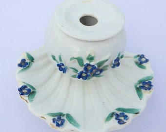 Victorian Ceramic Inkwell Lady's Inkwell - Decorated with Forget Me Nots Antique Inkwell Vintage Inkwell