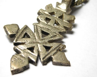 Ethiopian Cross Necklace - Metal Cross and Brass Chain - Authentic African Pendant - Rastafari Necklace