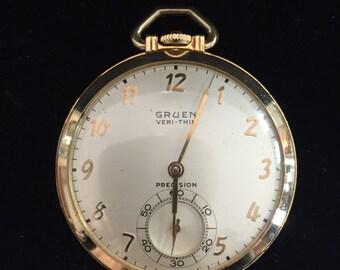 Gruen Veri-Thin Pocket Watch, Running, Seveneteen Jewels