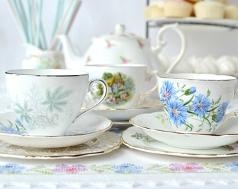 Pretty set of 3 English vintage china tea sets: 3 mismatched bone china tea cups, saucers and plates