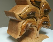 "Oak and Canary Wood Jewelry Box.  12""H x 12.5""W x 6""D."