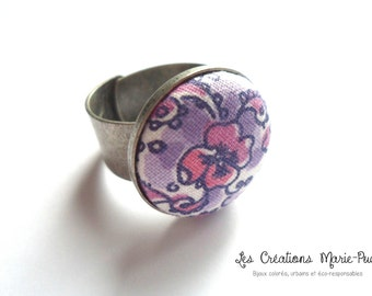 Adjustable Ring, Metal Ring, Antique Silver Ring, Purple Ring, Flower Ring, Fabric Button Ring, Modern Ring, Modern Jewelry, Gift For Her
