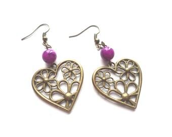 Brass Earrings, Purple Earrings, Metal Earrings, Heart Earrings, Heart Jewelry, Modern Earrings, Gift For Her, Bohemian Earrings, Woman Gift