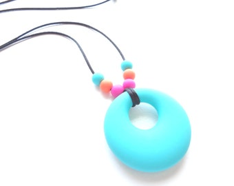 Silicone Teething Necklace - Teething Necklace - Teal Teething Necklace - Nursing Necklace - Baby Shower Gift - New Mom Gift - Baby Gift