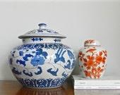 Large Vintage Chinoiserie Ginger Jar Potiche Jar Temple Urn Blue White Asian Decor
