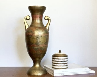 Vintage Brass Vase Large Tall Decorative Etched Indian Persian Brass Mantle Vase Boho Cosmopolitan Chic