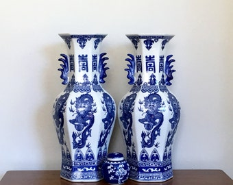 Large Vintage Chinese Vases Pair Blue White Porcelain Mantle Dragon Vases Chinoiserie Chic Decor