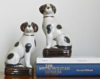 Vintage Dog Statue Bookends Book Ends English Pointer Spaniel Ceramic Mantle Dog Figurines Preppy English Decor