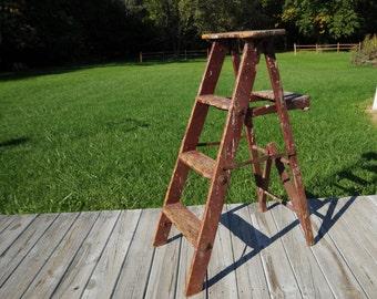 Antique Vintage Red Wood Ladder Step Ladder Step Stool 4 Foot Ladder Display