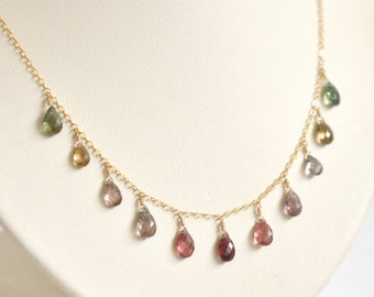 Watermelon Tourmaline Necklace- Pink and Green Tourmaline- Gemstone Necklace- 14k Gold Filled Necklace- Delicate Necklace- Ombre Teardrops