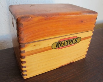 Vintage Wood Recipe Box with Dovetail Joinery