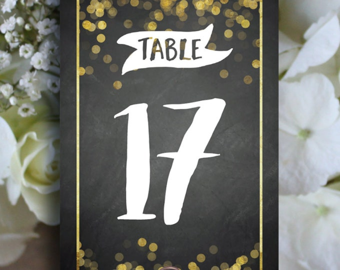 Table Number Chalkboard, White and Gold, Printable 1 to 40, Downloadable, Print it yourself.