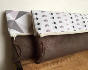 Fold over clutch, Gray and Pink Geometric/Hearts pattern with Brown Faux Suede, Large Zipper Pouch, Pink and Grey, Travel Pouch