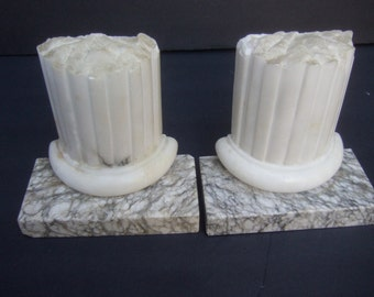 Elegant Carved Marble Column Pillar Bookends