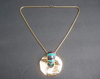 Stylish Gilt Metal Enamel Pendant Necklace