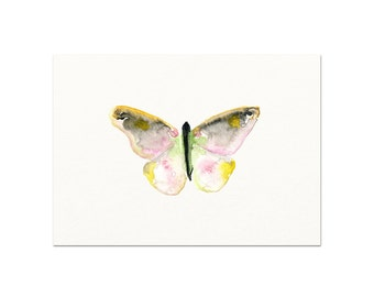 Watercolor Butterfly Print. Modern Nature Decor. Pink and Yellow Butterfly Painting. Minimalist Home Decor. Unique Nursery Wall Art. Zen Art