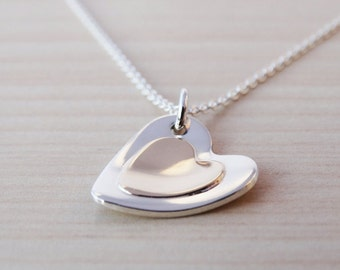 Gold & Silver Heart Necklace - Sterling Silver - 9ct Gold