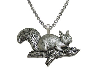 Squirrel on Branch Pendant Necklace