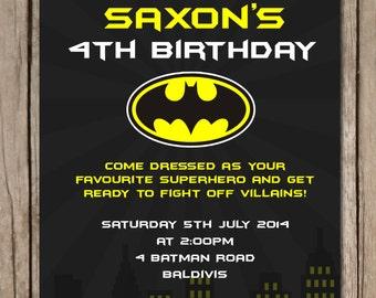 Batman Themed Personalised Birthday Invitations - YOU PRINT