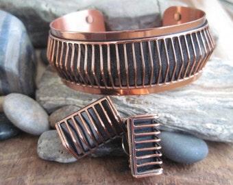 Vintage Renoir Copper Shadows Set Cuff Bracelet and Clip Earrings