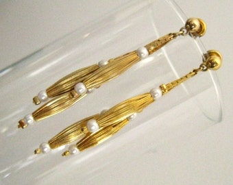 SALE Pearl and Gold 3-Strand Drop Vintage Earrings. Each has Graduated Strands, 6 Pearls & 3 Ribbed Gold Tone Barrel Beads.  Ball Stud Tops