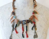 Ethnic Necklace w/ Jade, Corals, Afghan Metals, Leather & Beads