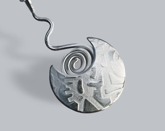 Silver Jewelry, Silver Jewellery, Abstract Silver Necklace, Spiral Pendant