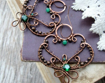 Green Moroccan Earrings - Wire Wrapped  Earrings -   Eastern Filigree Earrings - Chandelier  Dangle Arabic Copper wire earrings